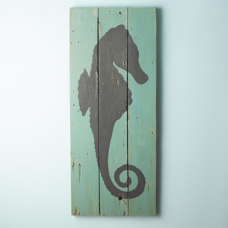 54x22 Seahorse Silhouette Plank Wall Art Panel | Planked ...