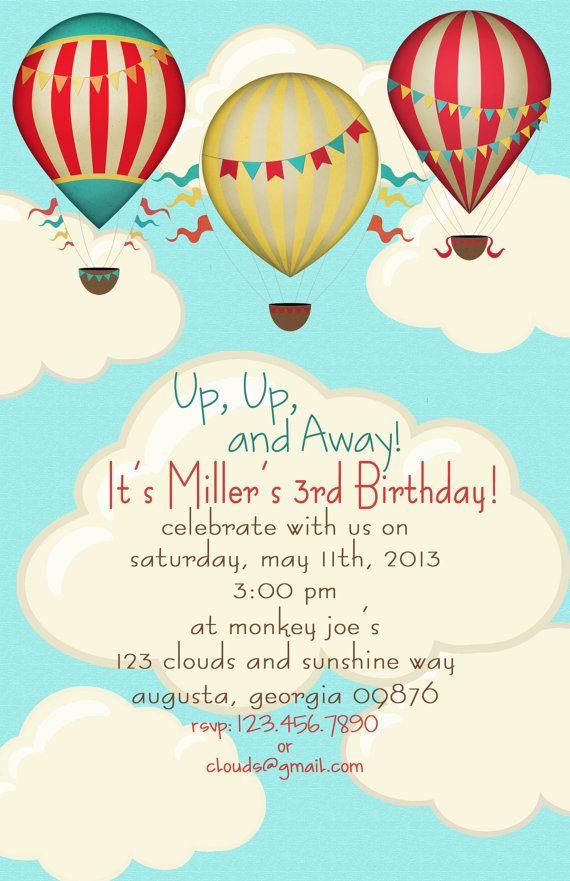 Hot Air Balloon Birthday Party Invitations (set of 20 invites) on Etsy, $25.00