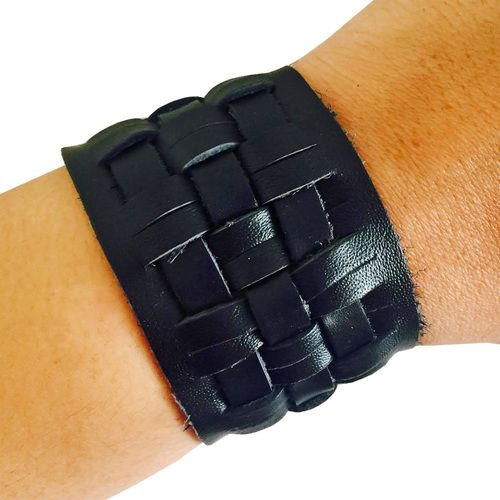 Fitbit Bracelet to securely conceal Fitbit Flex - The CARSON Black Genuine Woven Leather Unisex Fitbit Bracelet by FUNKtional Wearables.