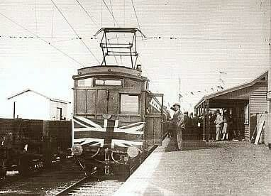 First electric train at Glenwavley,Victoria in 1930.