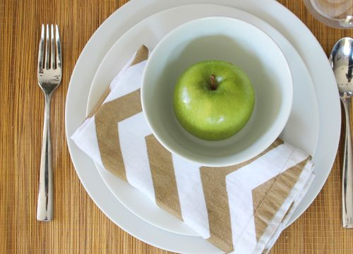 DIY Chevron Painter's Tape Cloth Napkins - Pepper Design Blog