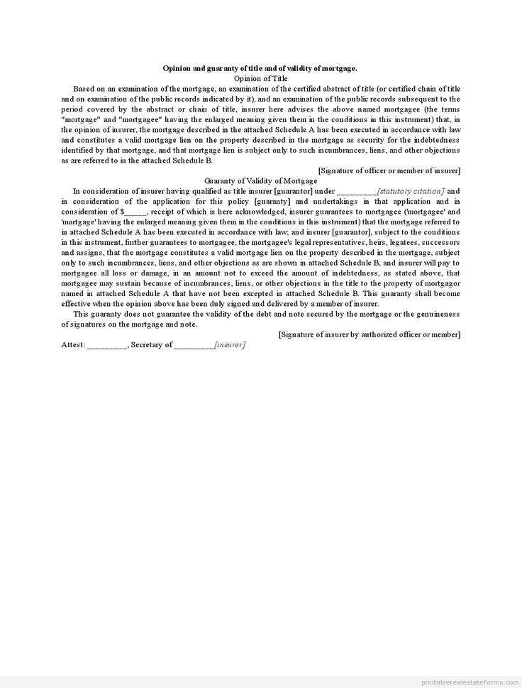 Sample Printable opinion and guaranty of title and of validity of mortgage Form