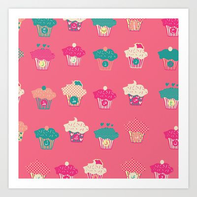 Cupcake Arabic Letters Art Print by Houriyah Abdul-Rahman  #arabic #calligraphy #typography #cupcakes #pink #pillow #letters #patterndesign