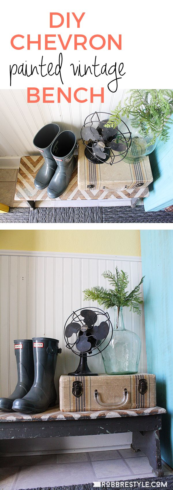 Chevron Painted Vintage Bench by RobbRestyle.com