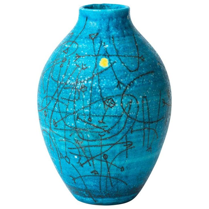 Large 1950s Guido Gambone Esoteric Ceramic Vessel in Stunning Mediterranean Blue | From a unique collection of antique and modern vases and vessels at https://www.1stdibs.com/furniture/decorative-objects/vases-vessels/