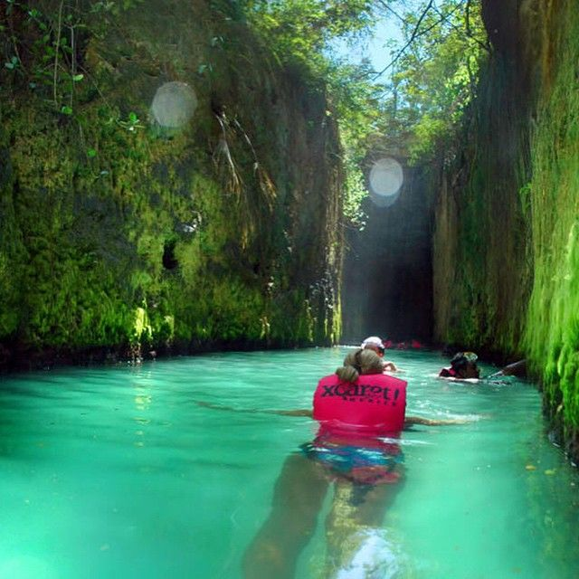 Swimming in the river at Xcaret Eco Theme Park in Playa De Carmen, Mexico- [Rated #1 of 100 things to do in Playa del Carmen according to TripAdvisor]