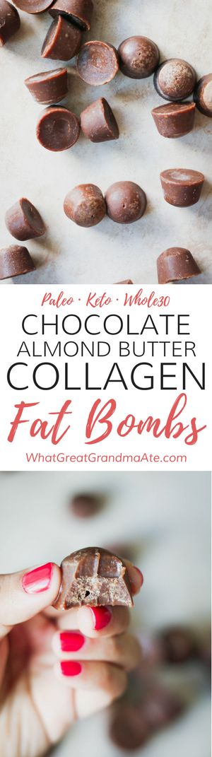 Paleo Chocolate Almond Butter Collagen Fat Bombs (Keto, Whole30)