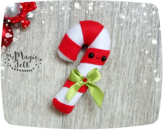 Felt Christmas ornaments Candy cane Christmas by MyMagicFelt