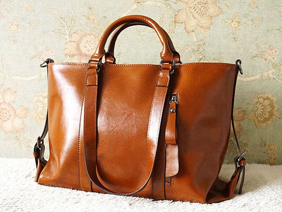 Women leather bag Retro Brown Leather Tote by Stevenhandmade, $89.00