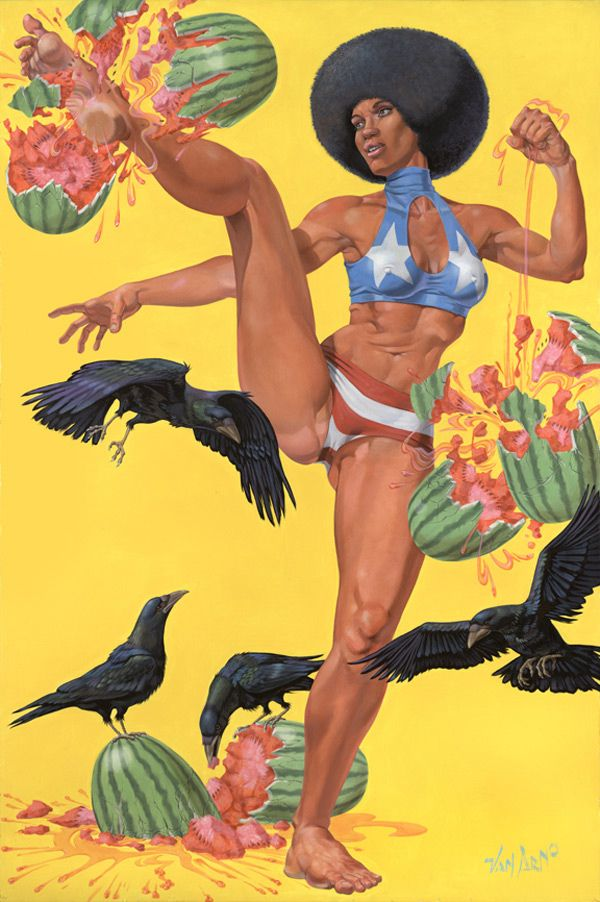 Primarily working in the illustrative music business, Van Arno, encapsulates the whimsy of erotica. By illustrating strong women in his work, he brings forth a sense of power and intensity.