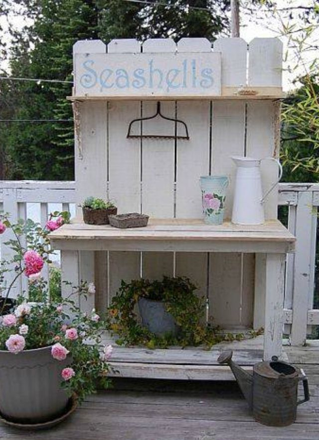Potting Bench Primitive Benchs Pallet Garden Benches