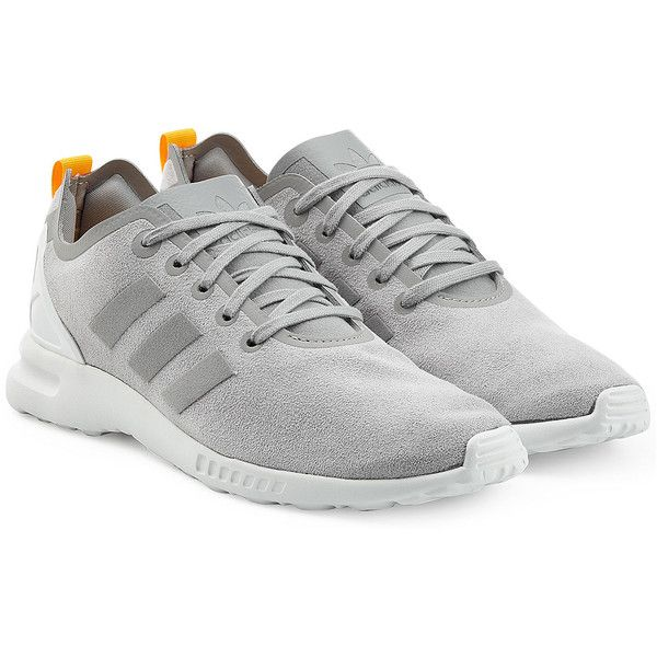 Adidas Originals ZX Flux Smooth Sneakers ($105) ❤ liked on Polyvore featuring shoes, sneakers, adidas, grey, lace up sneakers, grey shoes, lacing sneakers, rubber shoes and adidas originals shoes