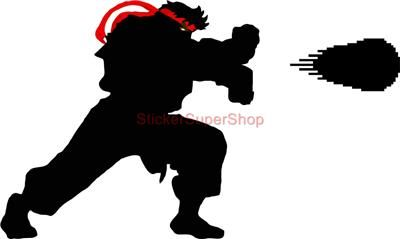 ryu silhouette | Huge RYU Hadouken Street Fighter Decal Removable Wall Sticker Home ...