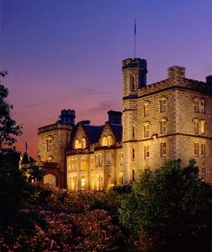 """Inverlochy Castle  located in Scotland  Queen Victoria was once a guest at Scotland's Inverlochy Castle (as she wrote in her diary: """"I never saw a lovelier or more romantic spot""""), in the foothills of Ben Nevis, the highest mountain in the United Kingdom;"""