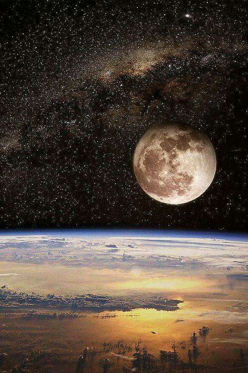 Earth horizon. Moon rising in front of the milky way.