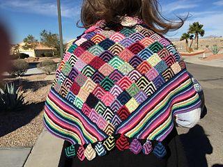 Knitted multi-colored diamonds shawl