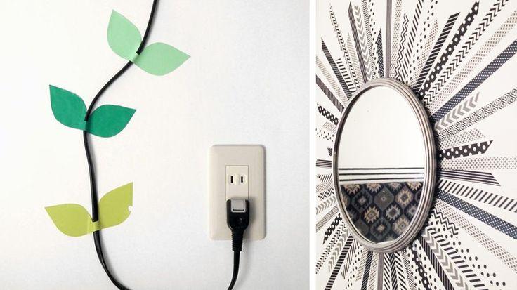 Le masking tape peut aussi servir à embellir la déco ou les accessoires de la maison. Une superbe idée DIY ! http://www.deco.fr/loisirs-creatifs/actualite-825462-diy-8-idees-decorer-murs-masking-tape.html