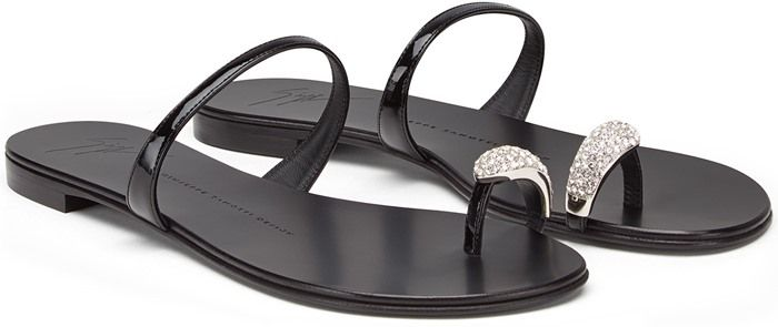 Giuseppe Zanotti Metallic Toe-Ring Flat Sandal in Black