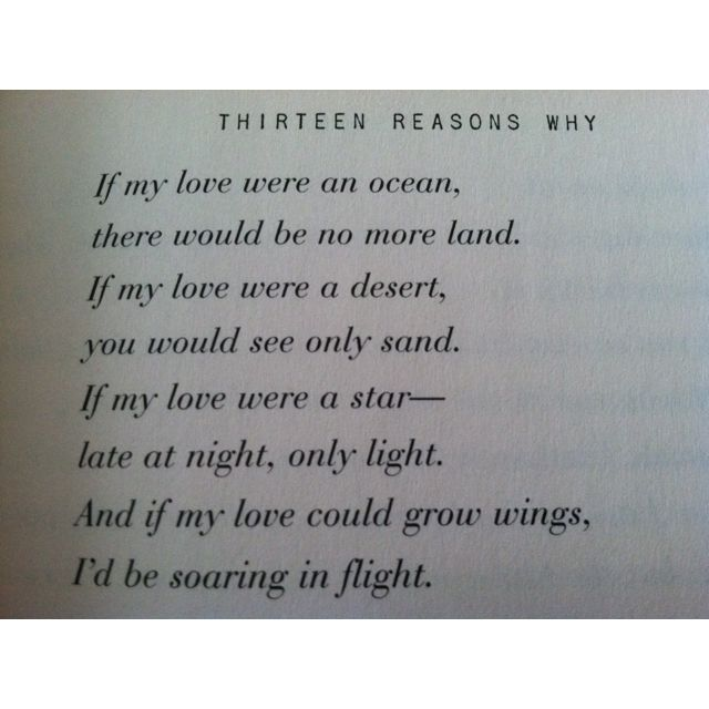 Poetry Book Cover Quote : Love poem from the book thirteen reasons why reading a