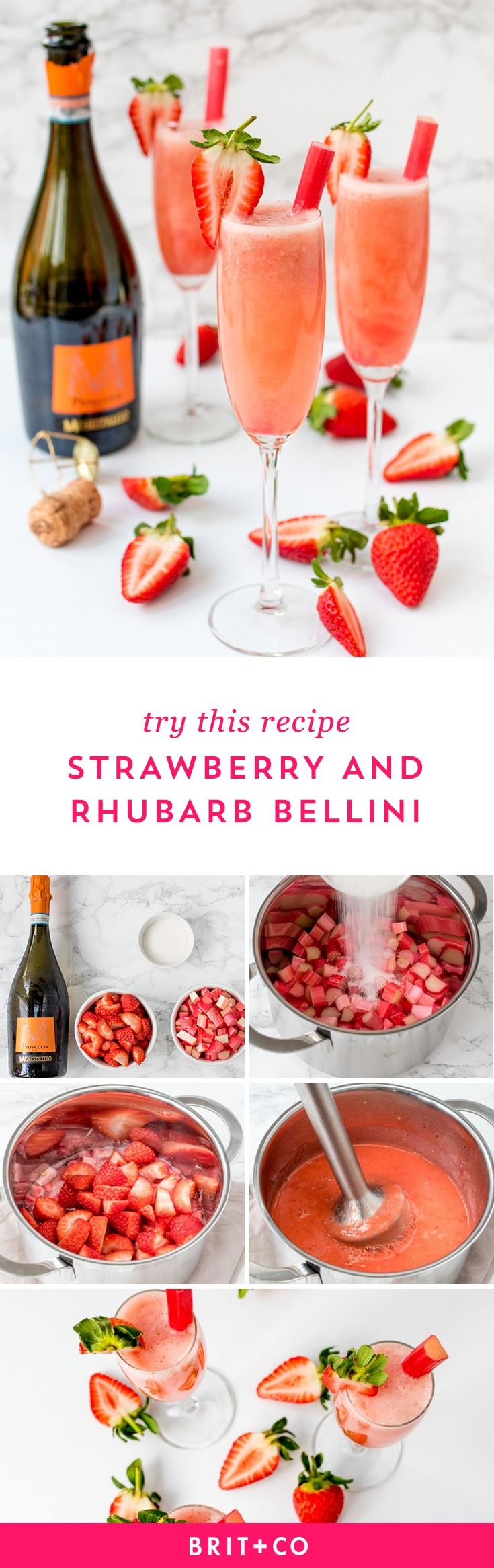 Celebrate the Oscars in style with this Strawberry + Rhubarb Bellini recipe.