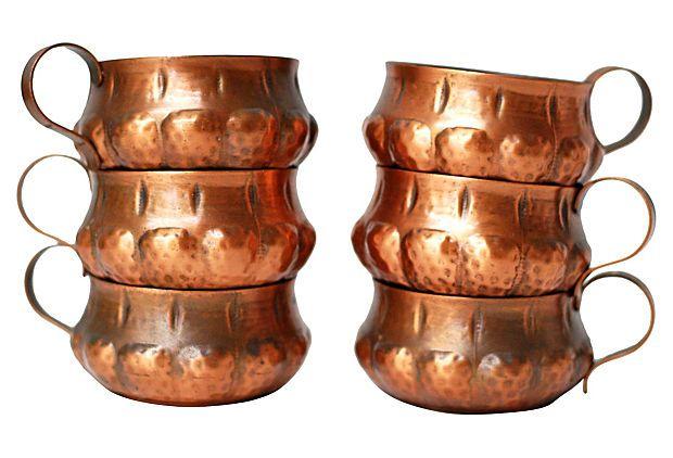 Hammered Copper Mugs, S/6 on OneKingsLane.com