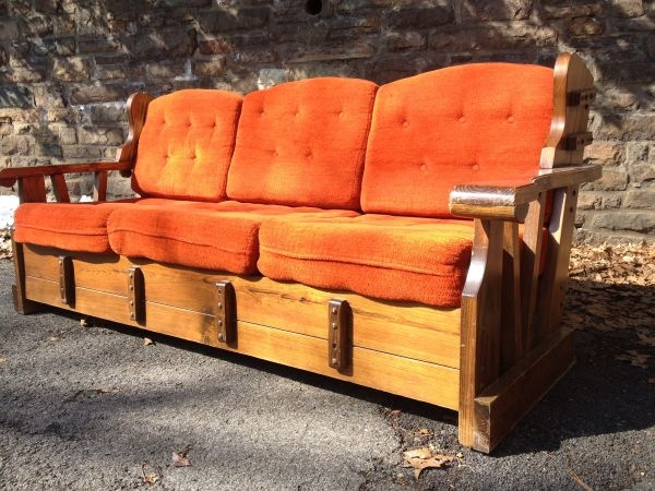 Bon Philadelphia: Orange Retro Wood Frame Couch   1970s $175    Http://furnishlyst
