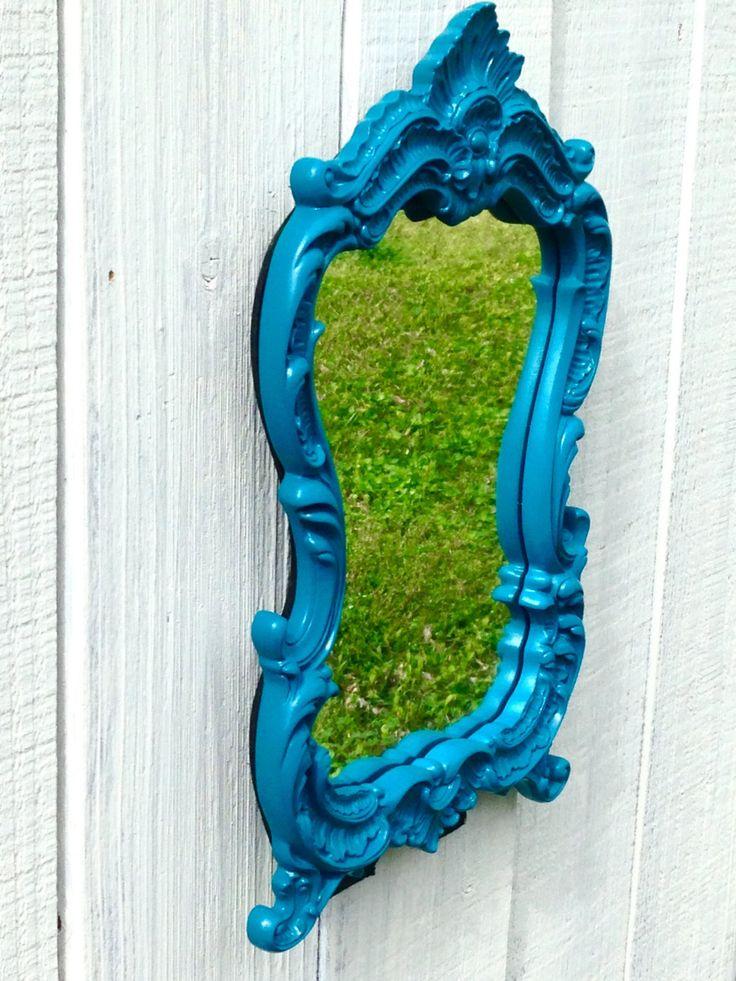 Blue Makeup Vanity Mirror - Bathroom Mirror - Decorative Wall Mirrors - Blue Mirror - Standing Vanity Mirror - Wall Mirror - Blue Wall Decor by ShineBoxPrimitives on Etsy https://www.etsy.com/listing/269306847/blue-makeup-vanity-mirror-bathroom
