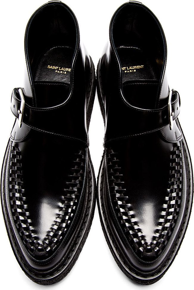 Saint Laurent: Black Monk Strap Creepers