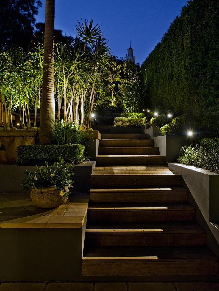 Garden lighting, washing over deck. Maroubra, NSW Australia. Anthony Wyer + Associates www.anthonywyer.com