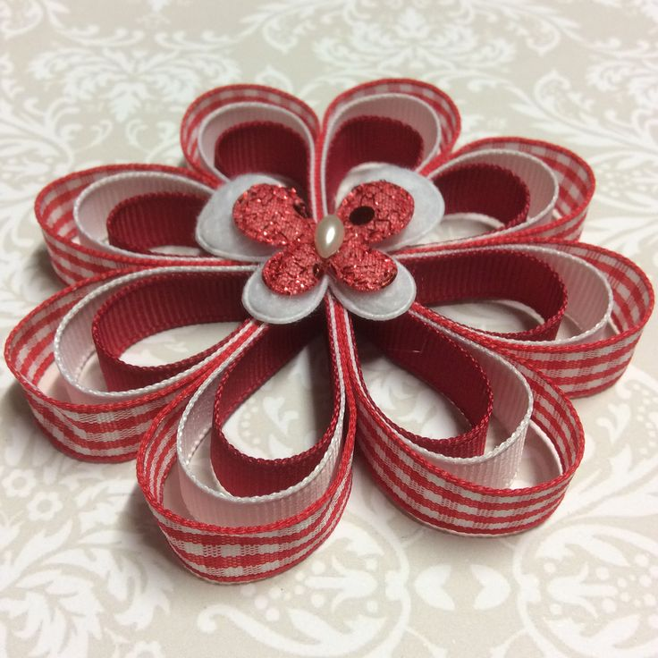 Red gingham flower.