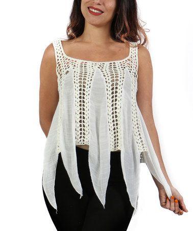 This White Sheer Crochet Handkerchief Top - Plus is perfect! #zulilyfinds