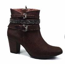 Bota Ankle Boots Feminino Via Marte Cano Médio Salto Grosso
