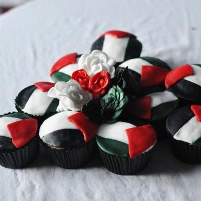 Palestinian flag-cupcakes