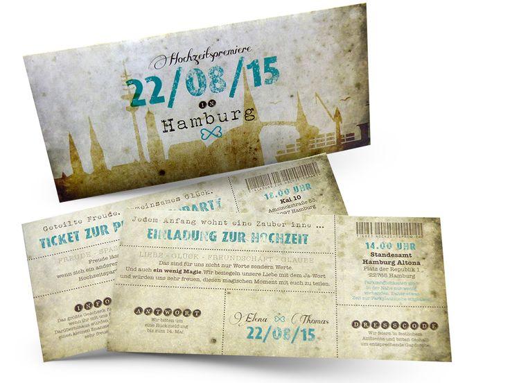 Edle Ticket-Hochzeitskarten –Believe in magic