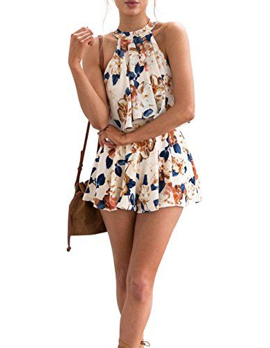 3e30625d1a37 Sanifer Women s Floral Printed Crop Top Shorts Set Summer 2 Pieces Outfits Jumpsuits  Rompers Playsuits