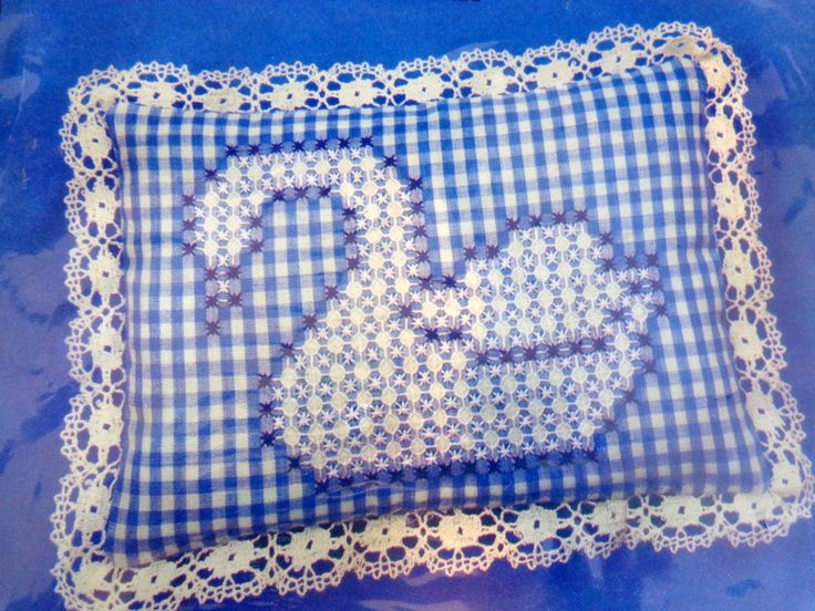 Vintage chicken scratch Embroidery Kit Blue Swan Gingham by BerningsBargains, $17.99