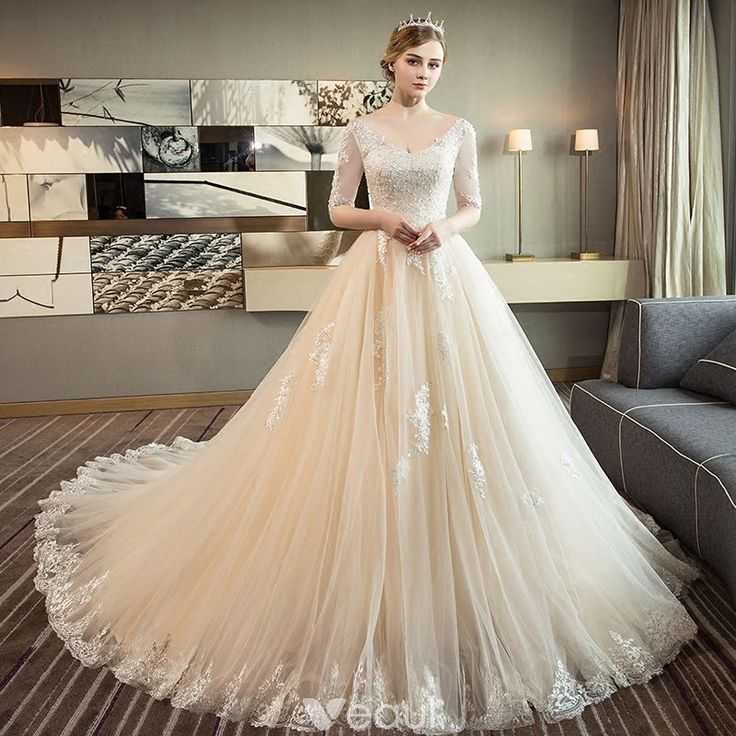 Elegant Champagne Wedding Dresses 2018 Ball Gown V-Neck 1/2 Sleeves Backless Appliques Lace Sequins Pearl Ruffle Cathedral Train