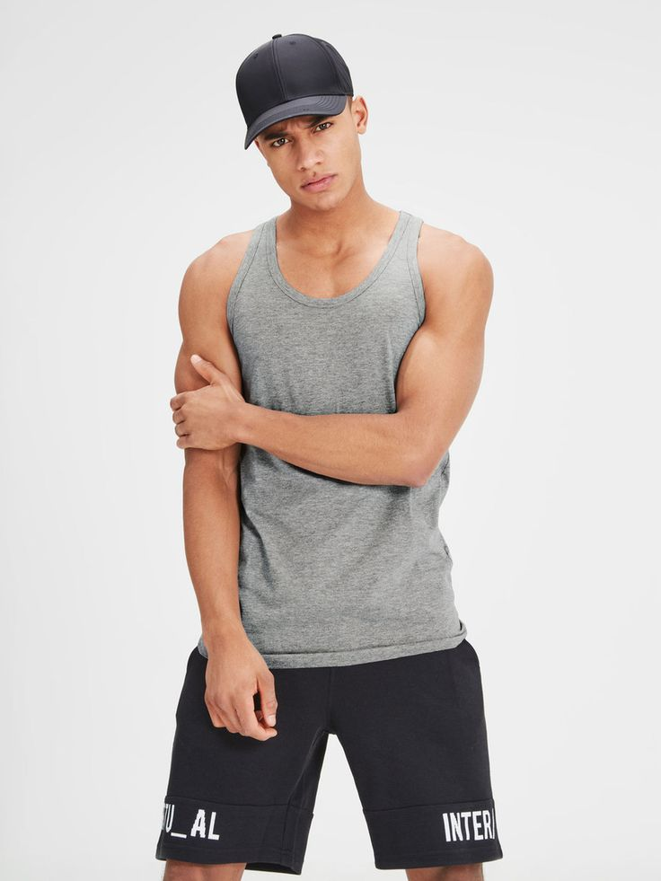 Wardrobe essential: basic tank top with added stretch for comfort. Available in light grey, black, white and blue | JACK & JONES