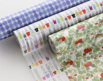 mt wrap - washi wrapping paper roll - small - litem batik, italian flower shelf, apples, work and fika