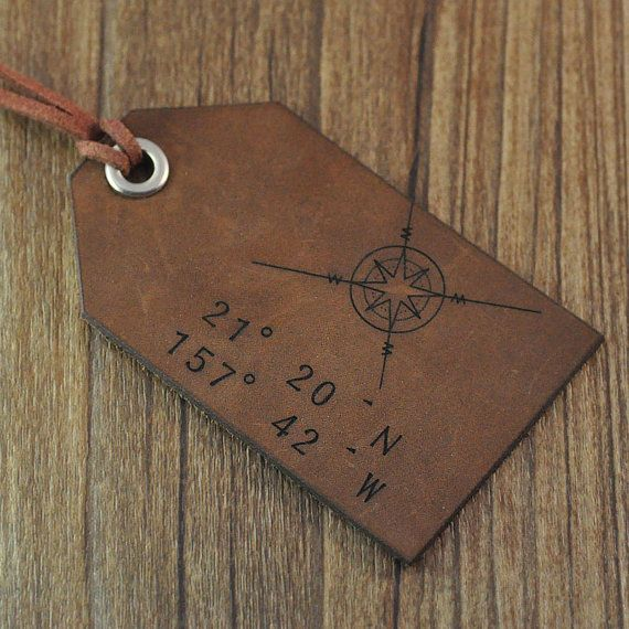 travel luggage tag, leather