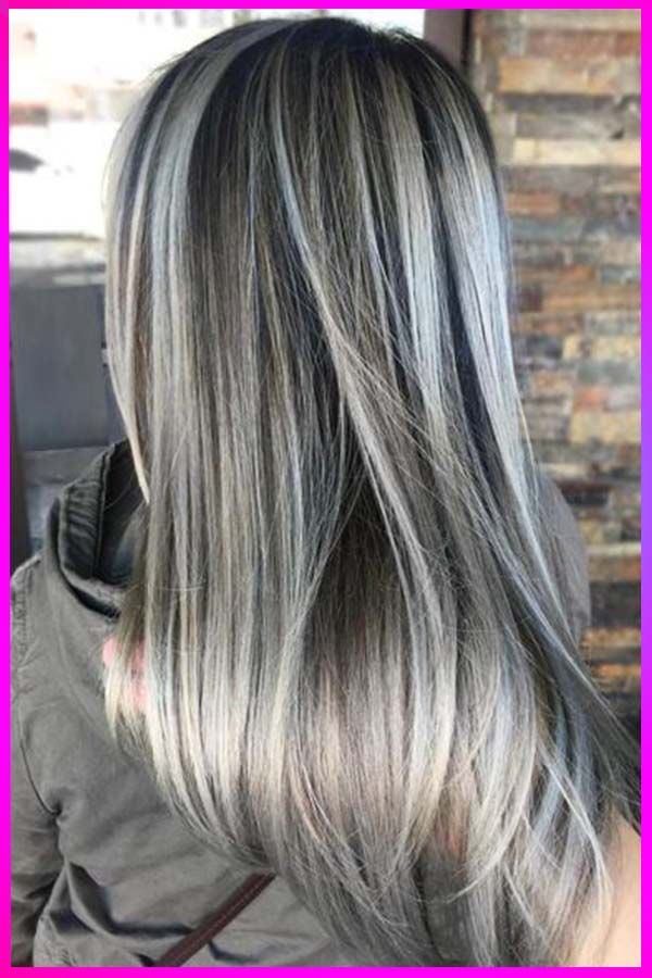 Beautifull Ash Gray Hairstyles And Colors Tips For Womens With Long Straight Hair In 2020 In 2020 Ash Grey Hair Dark Hair With Highlights Silver Hair Highlights