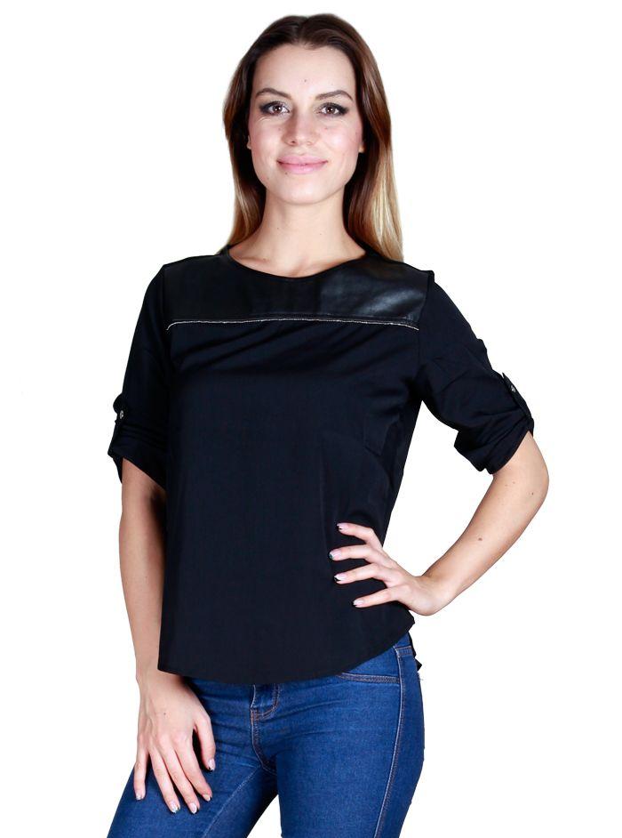 Siyah Yarım Kol Bluz
