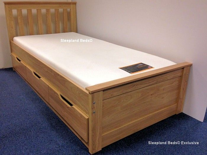 Awesome Single Bed With Storage Part - 13: Oak Almeria Single Bed With Storage Drawers | Low Captains Cabin Bed