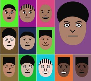 Faces is A JavaScript library for generating vector-based cartoon faces, somewhat reminiscent of how the Nintendo Wii generates random Miis. Faces are drawn as scalable vector graphics (SVG) using Raphael, which is the only dependency. Each face is also represented by a small JavaScript object, which allows you to store that object and then draw the it again later.