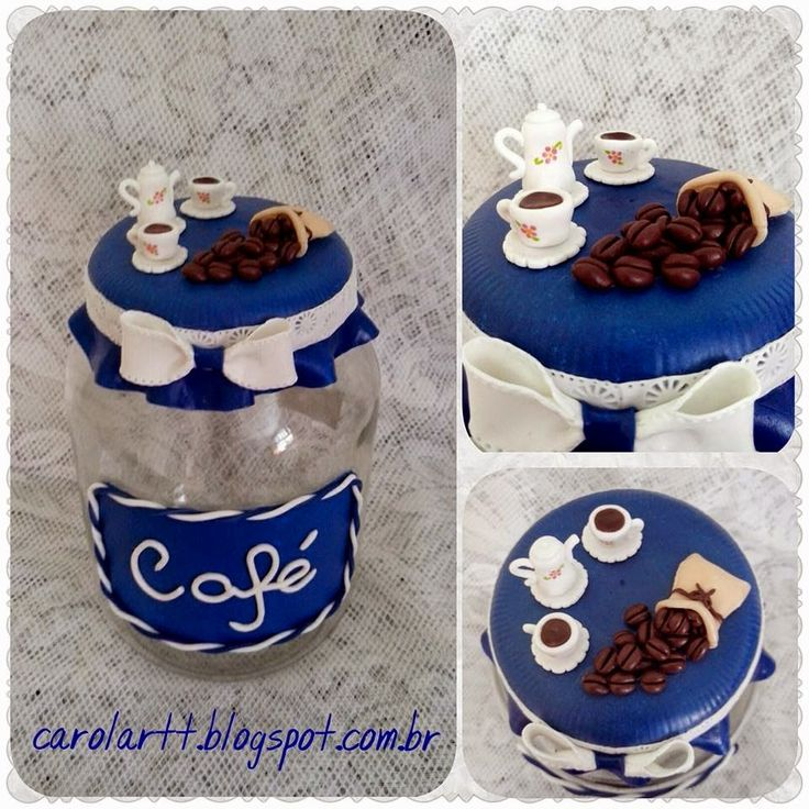 Kit de potes para mantimentos              Pote para arroz decorado com biscuit.       Pote para feijão decorado com biscuit.       P...