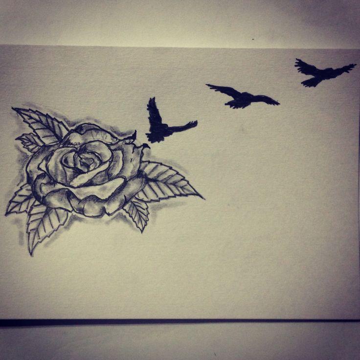 rose bird tattoo sketch drawing tattoo ideas by ranz pinterest bird tattoos. Black Bedroom Furniture Sets. Home Design Ideas