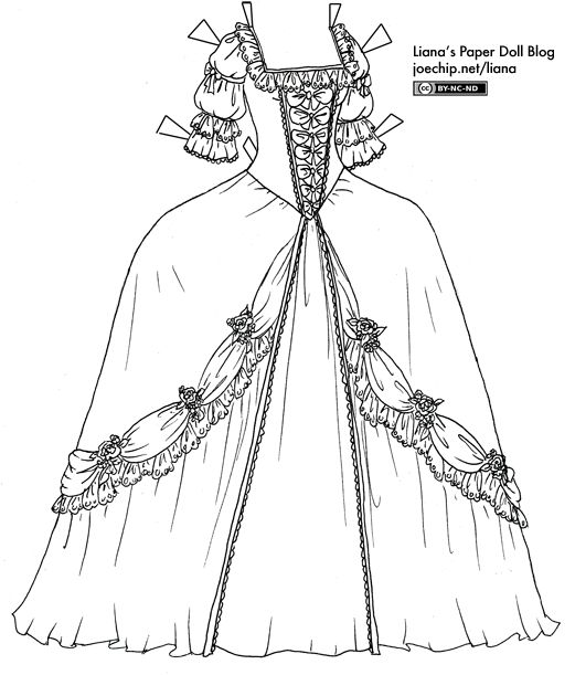 Black And White 1700s Gown Paper Dolls Fashion Displays