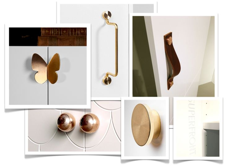 Beautiful handles and pulls in brass, copper, leather and marble from the new brand Superfront, Sweden