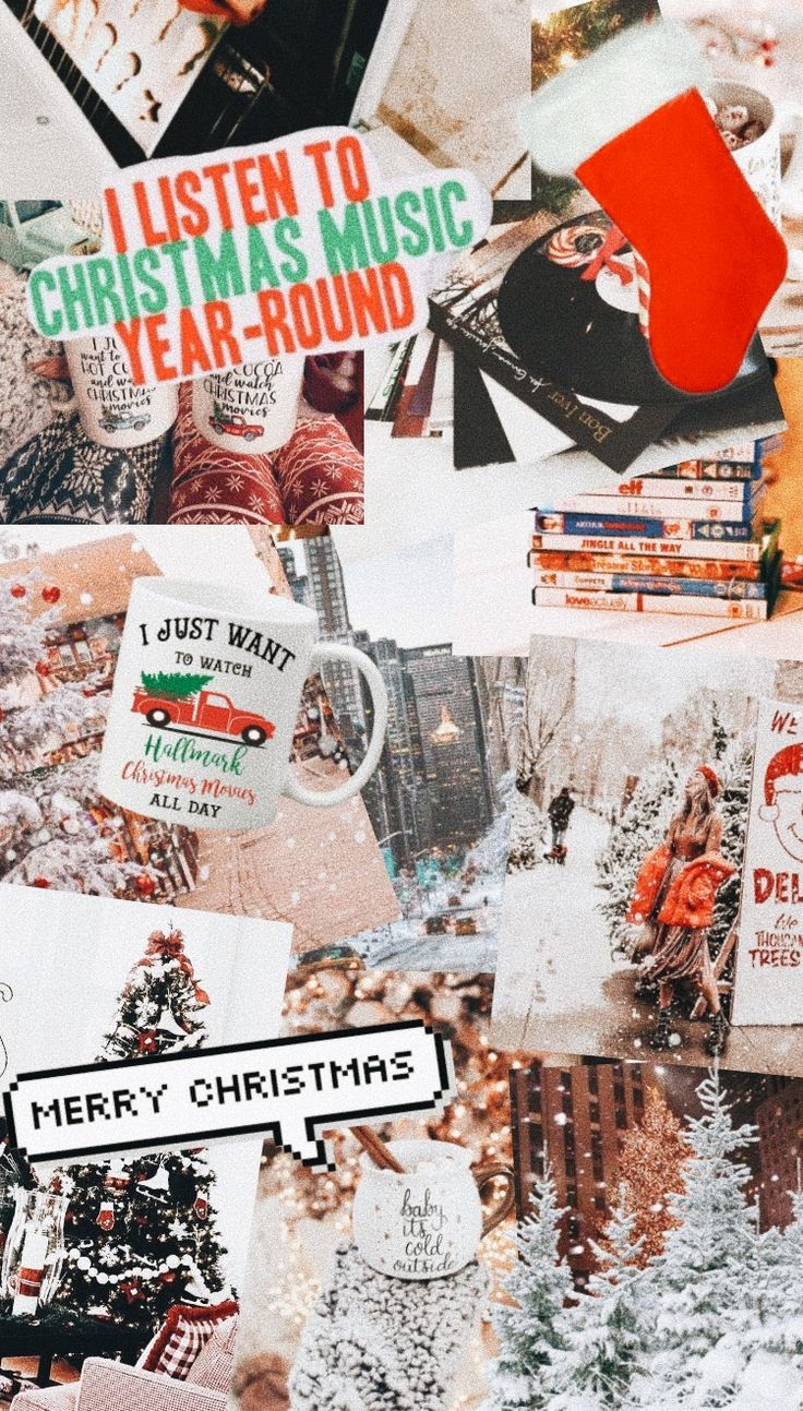 cute vsco aesthetic christmas photo collage iphone wallpaper light xmas