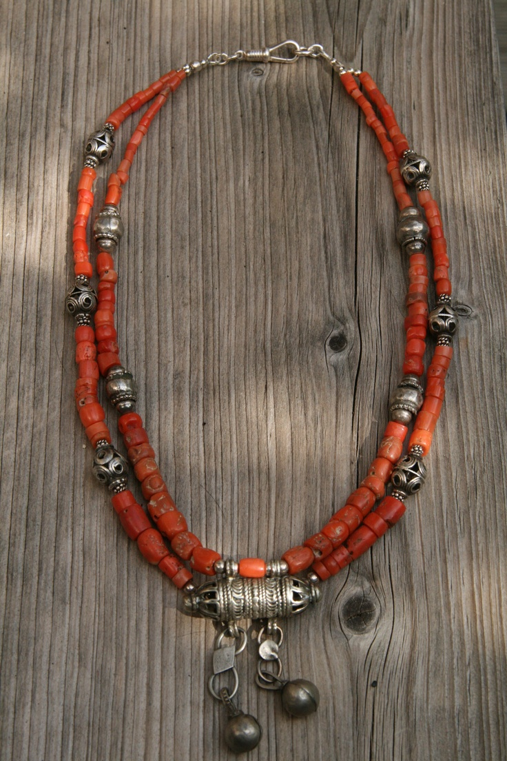 Necklace | Anne-Marie van Tilborg. Old coral with silver from Afghanistan
